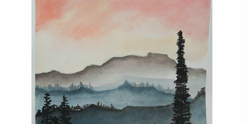 Beginner Watercolor In studio & online: sunset mountains
