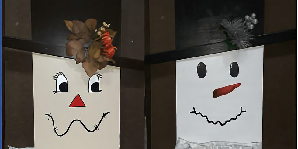 Reversible Scarecrow and Snowman Wood Board, BYOB