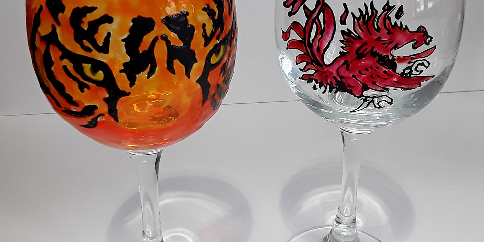 Football Wine Glass Painting