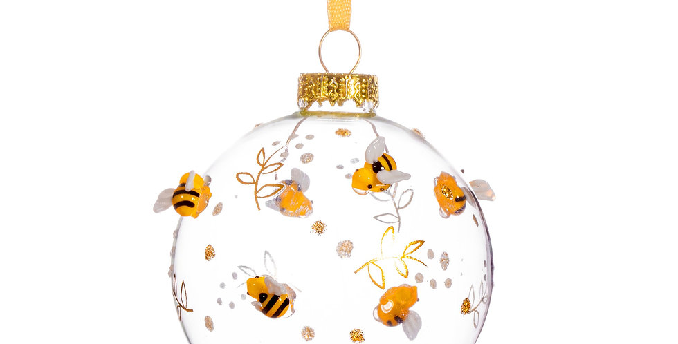 Luxe Bauble with Bees & Flowers