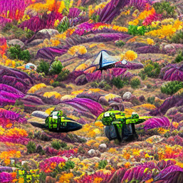 spaceship_on_a_cliff_in_a_sea_of_flowers_colorful_pixel art_sflicker_222555222.png