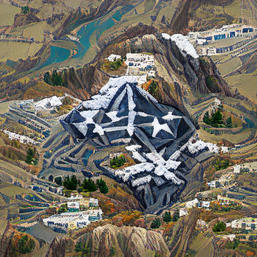 pentagon_aerial_on_a_mountain_with_snow_dull_pixel art_sflicker_7094894843044075084.png