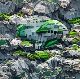 spaceship_on_a_cliff_in_a_sea_of_green_dull_pixel art_sflicker_16138476402861190310.png