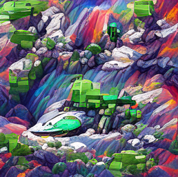 spaceship_on_a_cliff_in_a_sea_of_green_colorful_pixel art_sflicker_7775.png