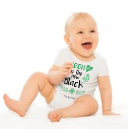 Baby Romper White - Green is the new black