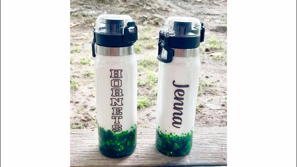 Hornets Glitter Water Bottle