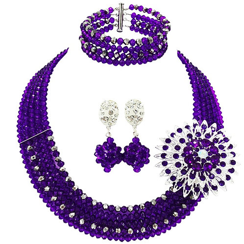 Purple and White Crystal Beaded Necklace Sets