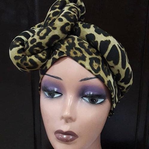 Leopard Print Headwrap / pre tie Turban