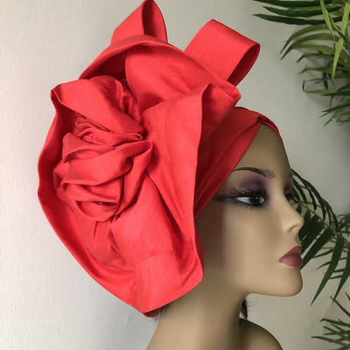 Red lace floral Turban
