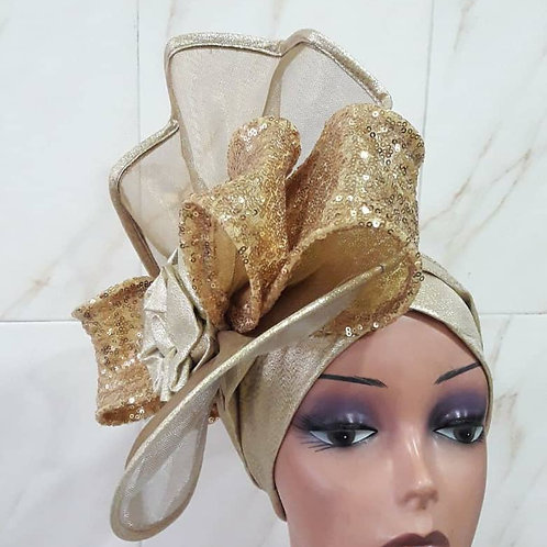 Gold Fascinator Turban