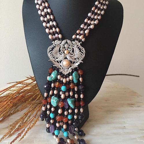 "18"" 4Strands Pearl Garnet Necklace CZ Pendant"