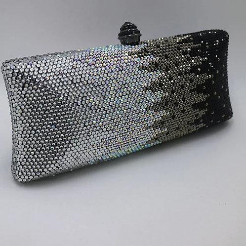 Silver Black Crystal Clutch