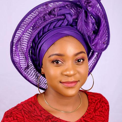 African  Purple gele / African women's Headwrap