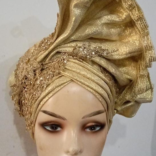 Gold  Fascinator Turban
