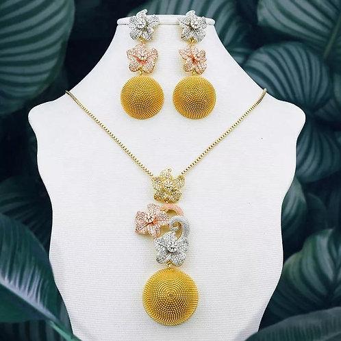 multicolor flower Necklace Set