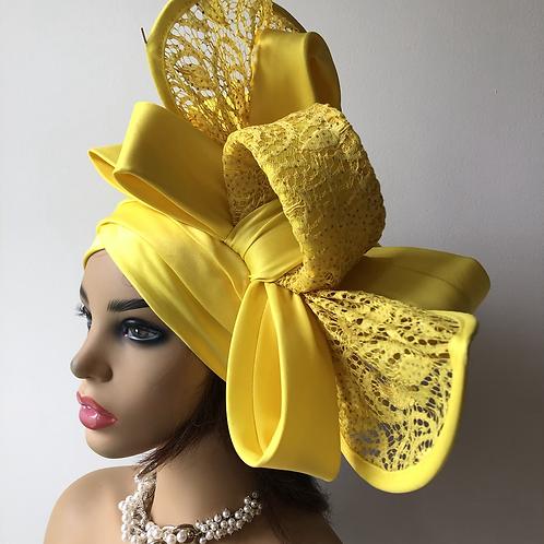 Yellow Fascinator  Turban