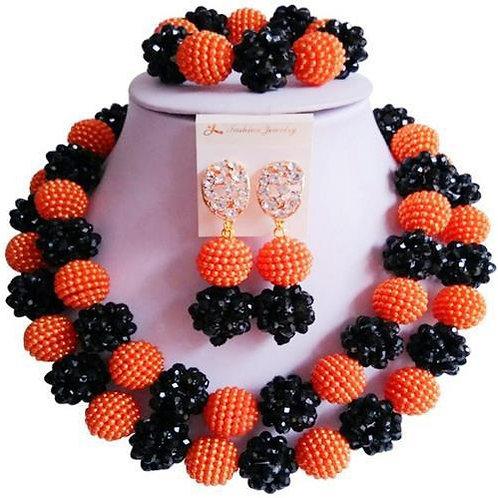 Black and Orange crystal bead Necklace Set