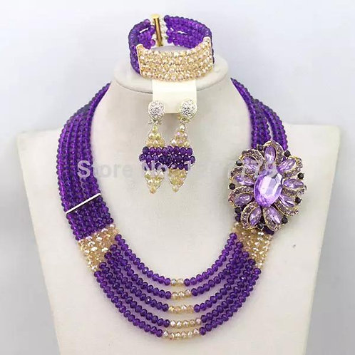 Purple Gold Crystal Necklace Sets