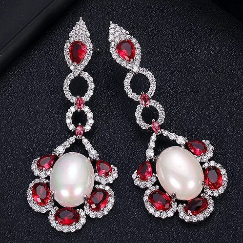 Dangling pearl CZ Pave Earring