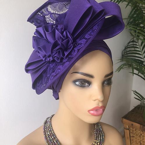 Ada  purple Fascinator Turban