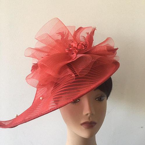 Red  fascinator hat