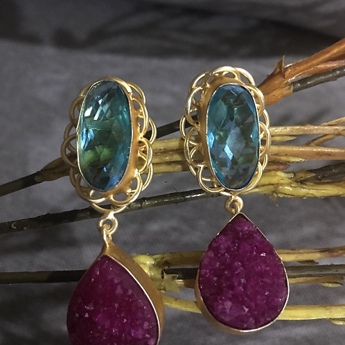 Sugar Agate Long Tassel Chain Earring