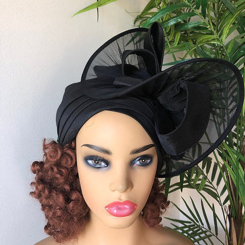 Black fascinator Turban