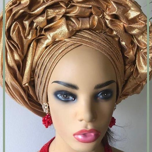 Gold Ready made Gele