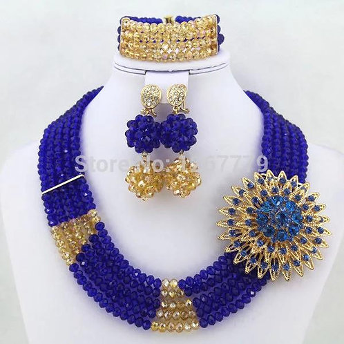 Blue and Gold Crystal Beaded Necklace