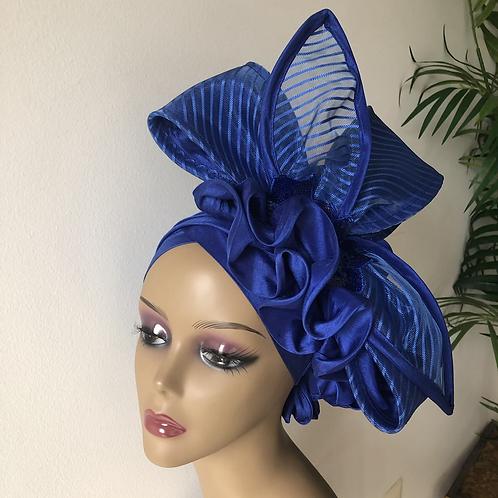 Royal blue fascinator Turban