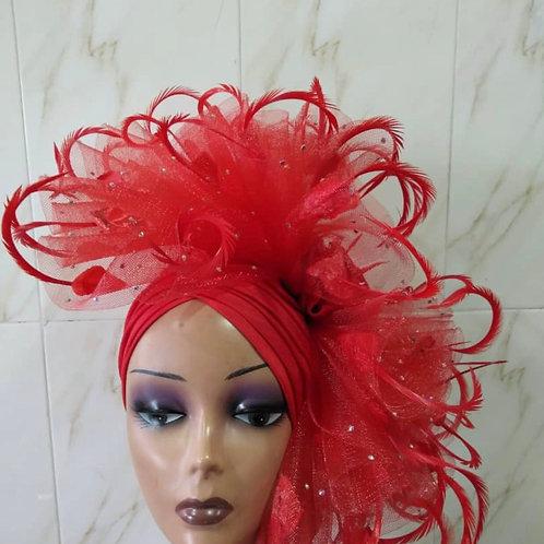 Rose  Red  fascinator Turban   ( Special Order )