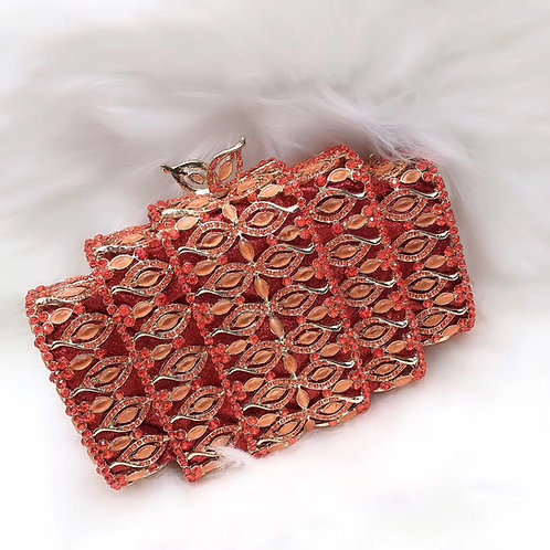 Red Orange Roller Clutch Purse