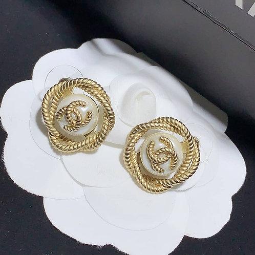 Vintage CC Logo Chanel Earring .