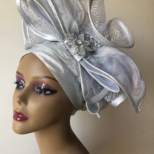 Silver Fascinator Turban