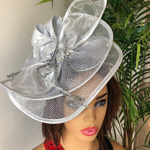 Silver Netted Fascinator