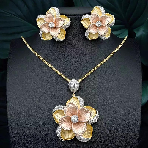 Flower Vintage Rose Gold Necklace Sets