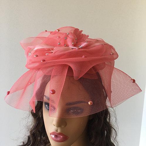 Pink Straw Fascinator