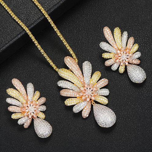 Big pineapple 3 Tone Necklace  Sets