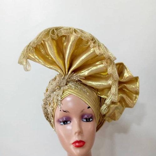 Gold  Fascinator Turban  (pre order)