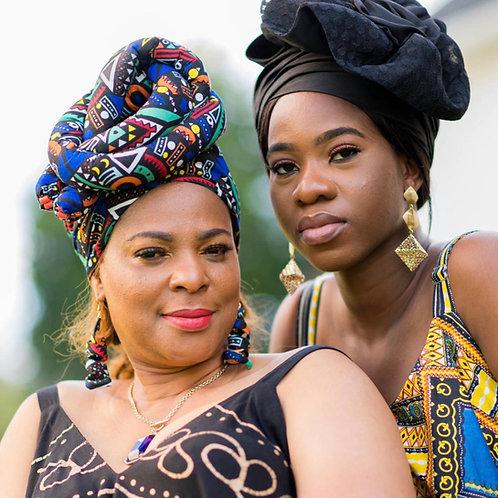 Pre tie Kente African Headwrap