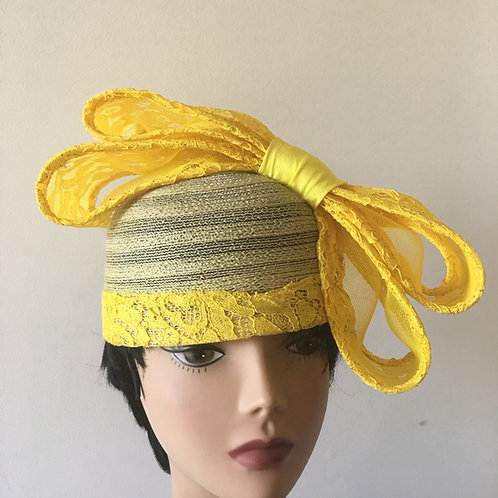 Yellow double  bow fascinator