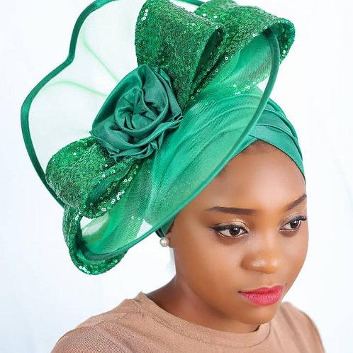 Green fascinator Turban
