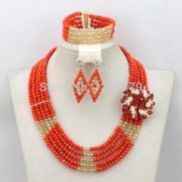 Coral Crystal Necklace Set