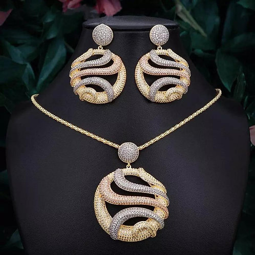 Forever Three Tone Necklace/ Pendant/ Earring Sets
