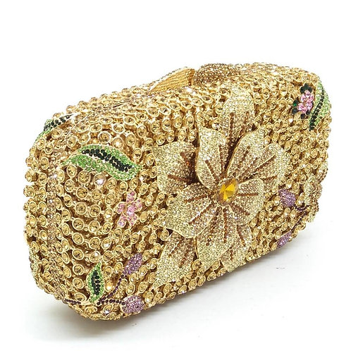 Women Golden Crystal flower bag