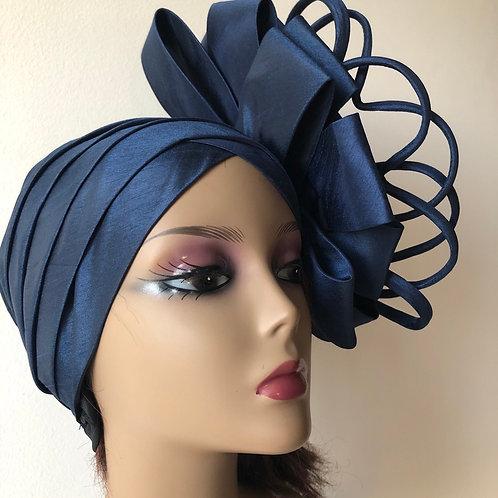 Navy Blue Lace Headwrap Turban