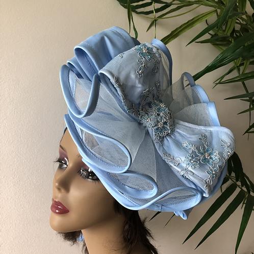 Sky blue fascinator Turban