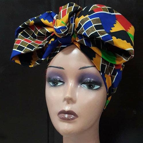 African Kente Bow Turban