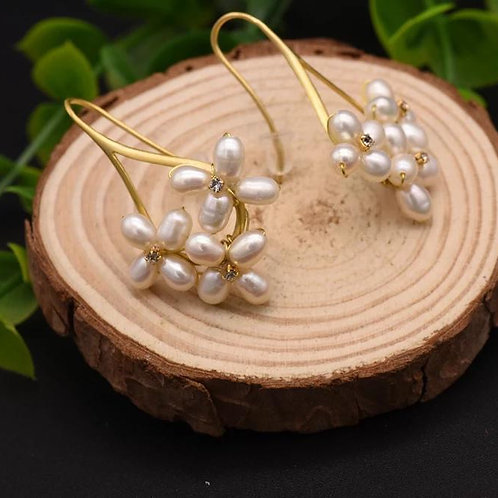 White Rice Seed baroque  pearl  Earring