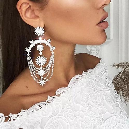 Trending Silver Stars Chandelier Earring